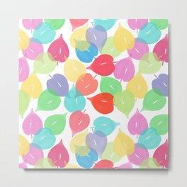 Watercolor Heart Leaves Metal Print