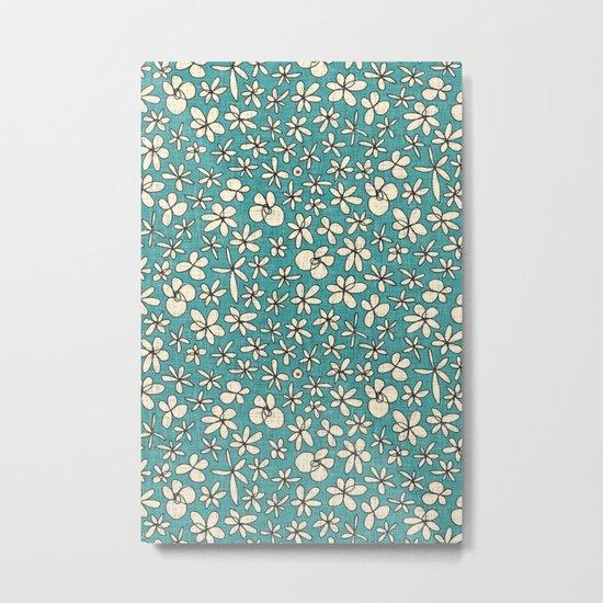 garland flowers blue Metal Print