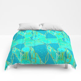 Sea Grotto Abstract, Turquoise, Aqua and Gold Comforters