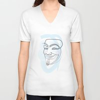 quibe V-neck T-shirts featuring One line mask: V by quibe