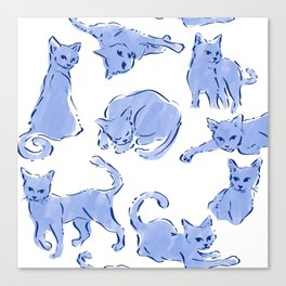 Cat Crazy blue white Canvas Print