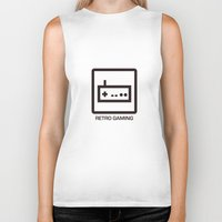 gaming Biker Tanks featuring retro gaming by parisian samurai studio