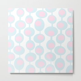 abstract 60ies circles and dots pattern in pink, white and aqua Metal Print