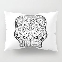 Black and White Sugar Skull Pillow Sham