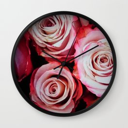 Red And Pink Rose Bouquet Wall Clock