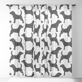 Black Beagle Silhouettes Pattern Sheer Curtain