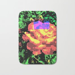 Digital Rose Against Vibrant Green Leaves Bath Mat