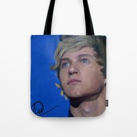 niall horan Tote Bags featuring Niall Horan  by Tune In Apparel