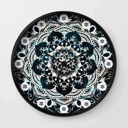 Glowing Spirit Mandala Blue White Wall Clock