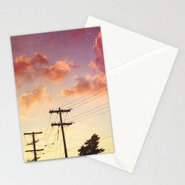 Red hot summer sun set Stationery Cards