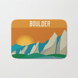 Boulder, Colorado - Skyline Illustration by Loose Petals Bath Mat