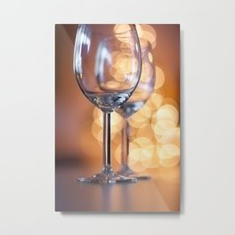 Wine Glasses and Bubble Bokeh Metal Print