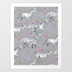 Unicorns and Stars on Soft Grey Art Print