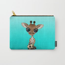 Cute Baby Giraffe With Football Soccer Ball Carry-All Pouch