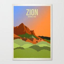 Zion National Park - Travel Poster -  Minimalist Art Print Canvas Print