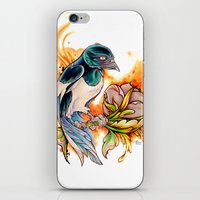 gemma correll iPhone & iPod Skins featuring Magpie by Gemma Pallat by ToraSumi