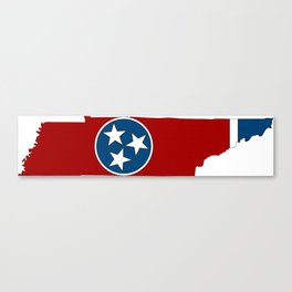 Tennessee Map with State Flag Canvas Print
