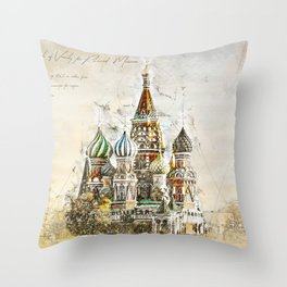 Saint Basil, Moscow Russia Throw Pillow