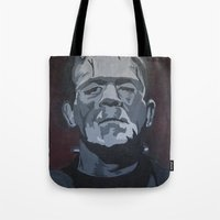 frankenstein Tote Bags featuring Frankenstein by Paintings That Pop
