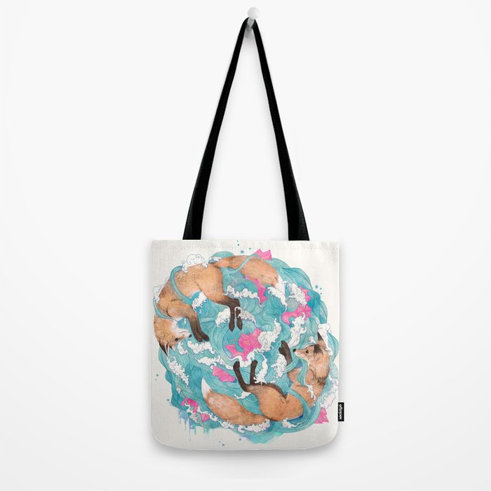 falling foxes Tote Bag