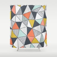 triangles Shower Curtains featuring Triangles by Patterns and Textures