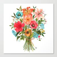 oana befort Canvas Prints featuring BOUQUET by Oana Befort