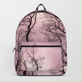 Naked trees, pink cloudy sky Backpack