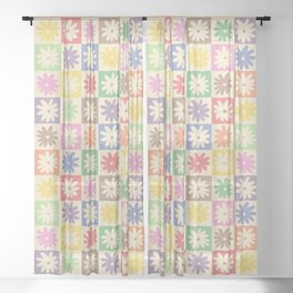 Colorful Flower Checkered Pattern Sheer Curtain
