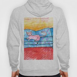 Colorful Cat Sitting on Colorful Sofa Hoody
