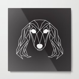 raya goods : lexie the dachshund, white on black Metal Print