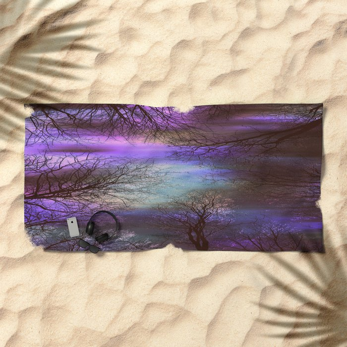 midnight trees purple green teal Beach Towel