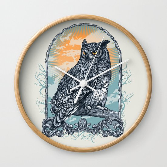 Twilight Owl Wall Clock
