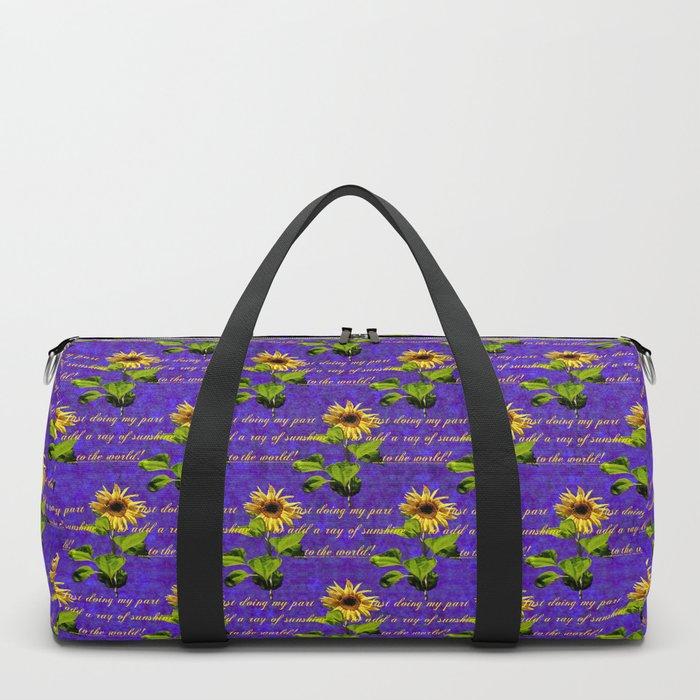 cheerful sunflower pattern on purple Duffle Bag