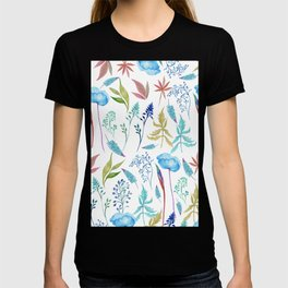 Country watercolor teal green blue foliage floral T-shirt