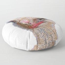 Ostrich Face Meme Bird Seems Suspicious Wary Behavior Floor Pillow