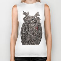 greg guillemin Biker Tanks featuring Owl Abstract by Greg Phillips by SquirrelSix