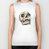 skulls Biker Tanks featuring Skulls by Lauren Draghetti