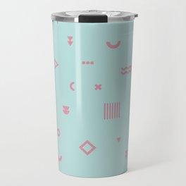Pale Blue and pink geometric shapes pattern Travel Mug