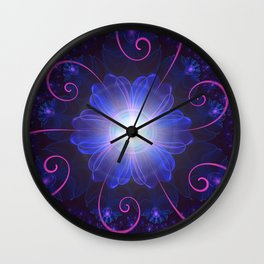 Beautiful Ultra Violet Fractal Nightshade Flower Wall Clock