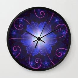 Beautiful Ultra Violet Fractal Nightshade Flower Wall Clock