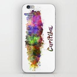 Curitiba skyline in watercolor iPhone Skin