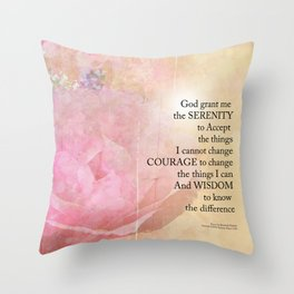 Serenity Prayer Pink Rose Floral Collage Throw Pillow