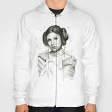Princess Leia Watercolor Carrie Fisher Portrait Hoody