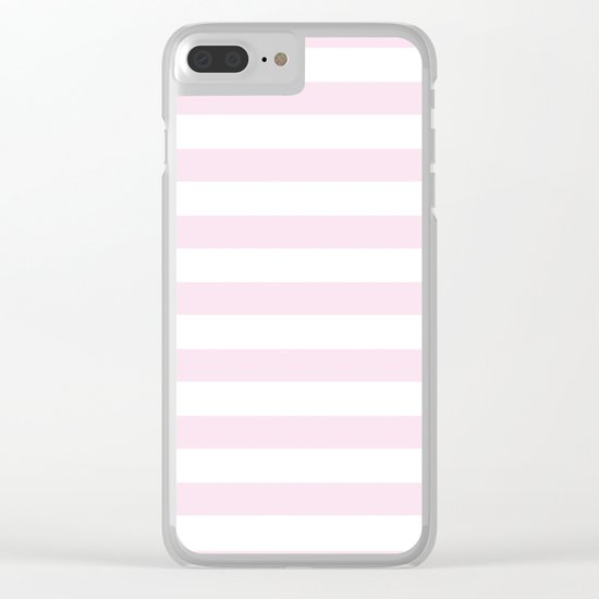 Simply Striped in Desert Rose Pink Clear iPhone Case