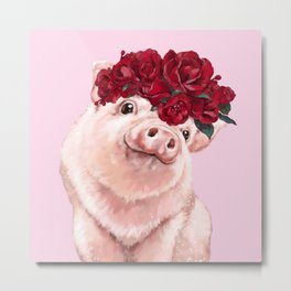 Baby Pig with Rose Flower Crown in Pink Metal Print