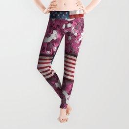 Pink Patriotic American Flag Hybrid Camo Camouflage Leggings