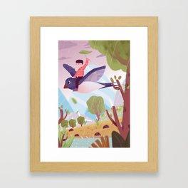 Fly Bird And Children Framed Art Print