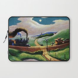 American West Classical Masterpiece 'Trains Colliding' by Thomas Hart Benton Laptop Sleeve
