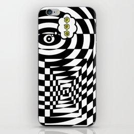 optical visual illusion thinking cloud of black and white chess board tunnel op art  iPhone Skin