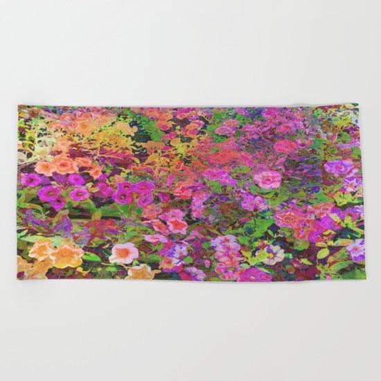 Rainbow Floral Landscape Beach Towel